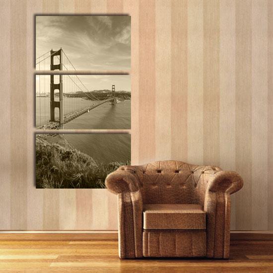 Obraz Trzyczęściowy Z Mostem Golden Gate Do Modnych Wnętrz
