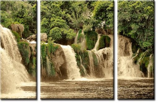 obraz tryptyk wodospad