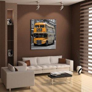 żółty londyński autobus