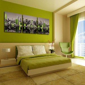tryptyk miasto z zielonym akcentem