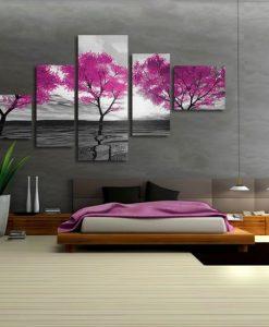 obraz różowe drzewa