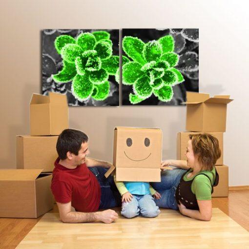 obrazy zielone kwiaty