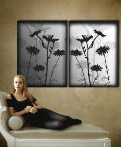dekoracja z kwiatami czarno biała