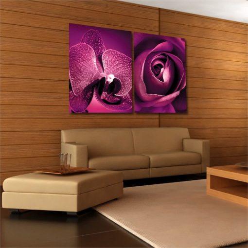 róża i orchidea na obrazie