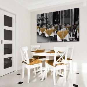 obraz dekoracyjny stoliki w restauracji