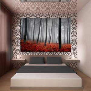 obraz las w czerwieni