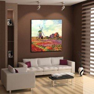 obraz tulipany i wiatrak