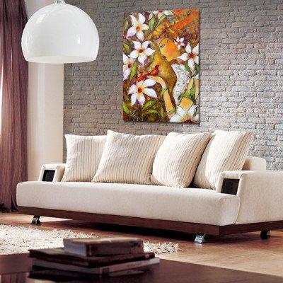 reprodukcja malarstwa z kobietą i kwiatami