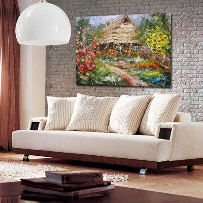chata kryta strzechą i kwiaty na obrazie
