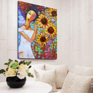 dziewczyna i kwiaty na reprodukcji