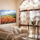 obraz do pokoju czerwone kwiaty