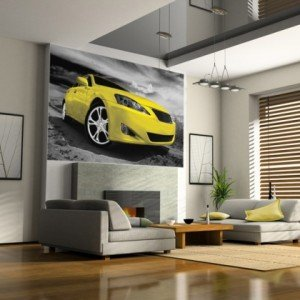 fototapeta żółte auto sportowe