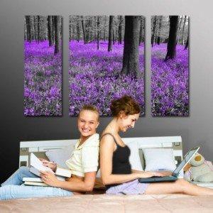 tryptyk fioletowe wrzosy