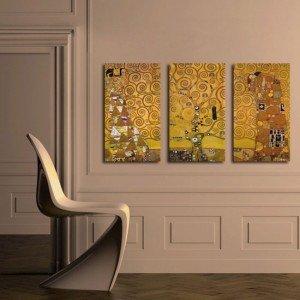 Aranżacje salonu obrazy tryptyki - tryptyk klimt drzewo życia