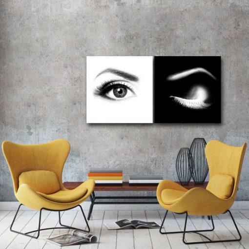 dubeltowy obraz z oczami
