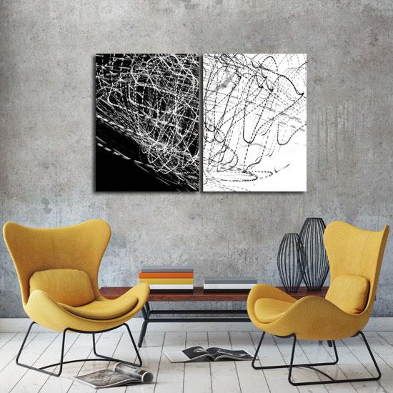 Obraz Czarno Białe Abstrakcyjne Mazaje Do Nowoczesnych Wnętrz