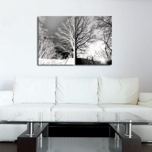 ozdoby szare z drzewami