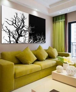 podwójny obraz z drzewami