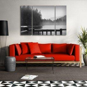 Ładne obrazy do salonu - tryptyk z krajobrazem