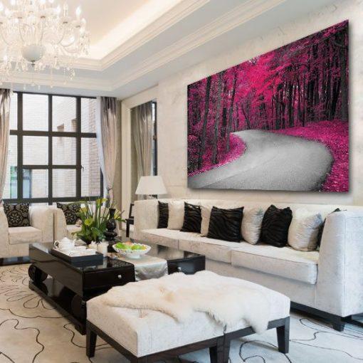 obraz z różowymi drzewami