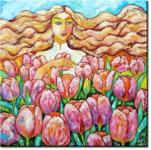 obraz pole różowych tulipanów
