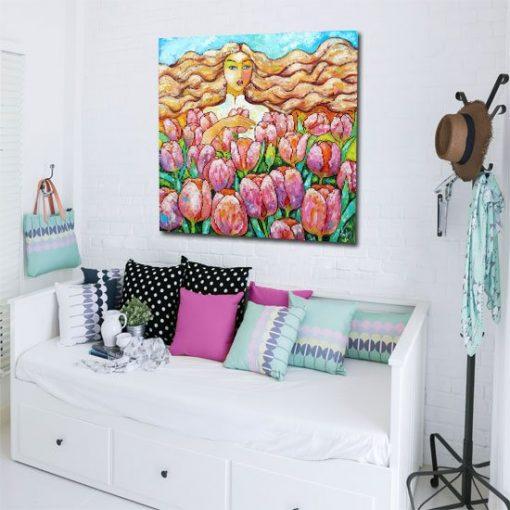 obraz z pastelowymi tulipanami