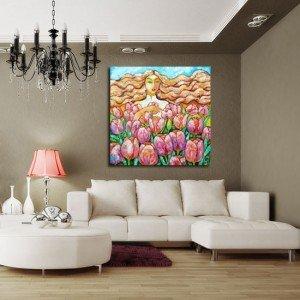 obraz jasnowłosa kobieta i kwiaty