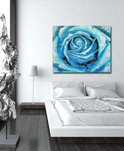 obraz do sypialni turkusowa róża
