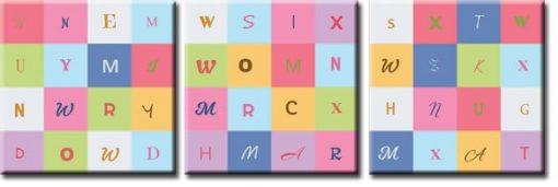 tryptyk z typografią