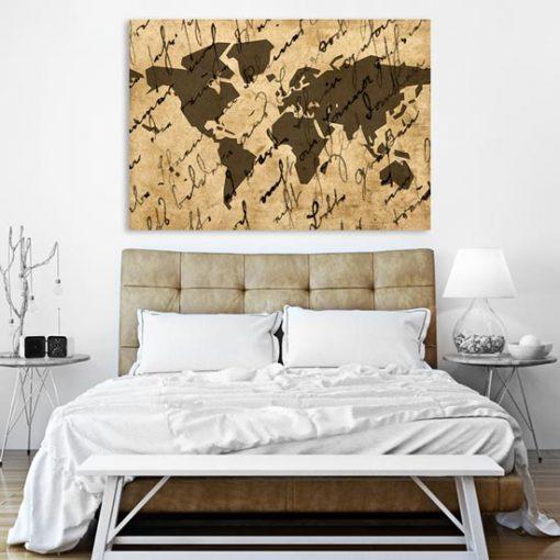 obraz z zarysem kontynentów