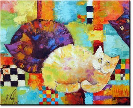 obraz do sypialni z kotami