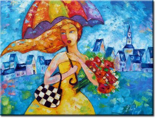 obraz z dziewczyną i parasolką