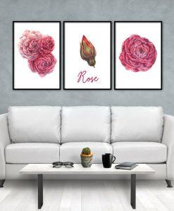 trzyczęściowy obraz z kwiatami róż