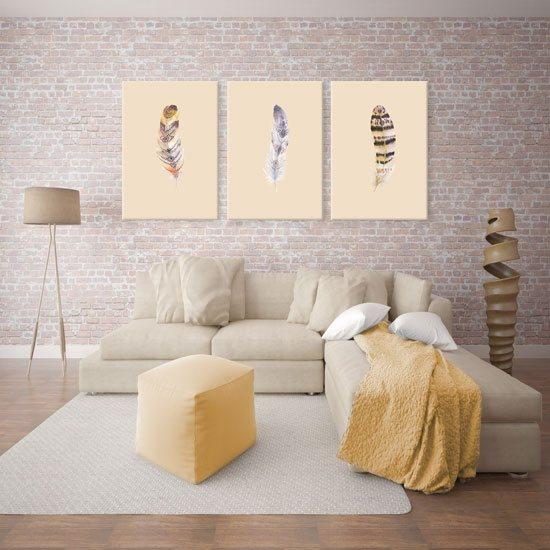 śliczny Obraz Potrójny Z Motywem Piór Do Dekoracji Sypialni