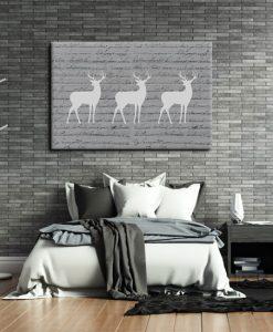 obraz z postaciami jeleni