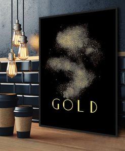 obraz z napisem i złotym pyłem