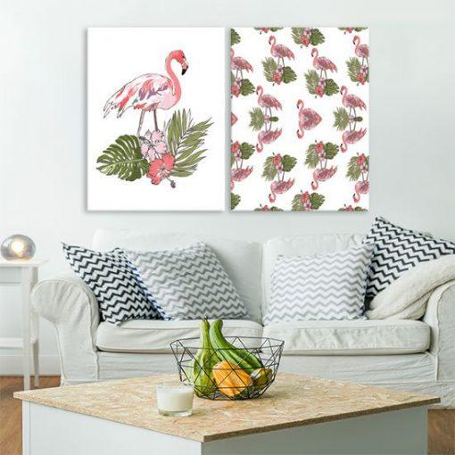 dyptyk z różowymi ptakami