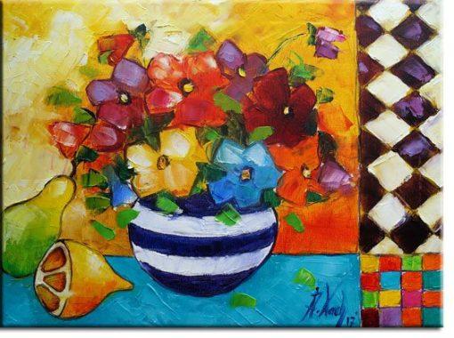 obraz z owocami i wazonem
