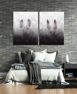 dwuczęściowy obraz z piórami
