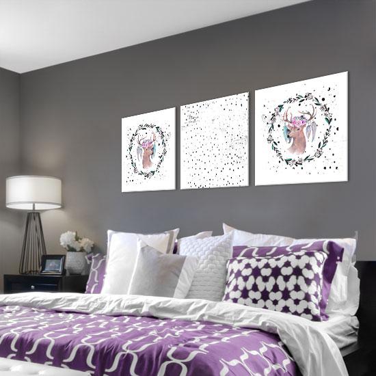 Obraz Tryptyk Nad łóżko I Całkowicie Odmień ściany W Swoim Domu