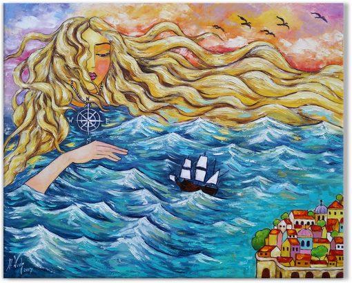 obraz z kobieta i morzem