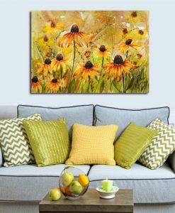 obraz żółta łąka