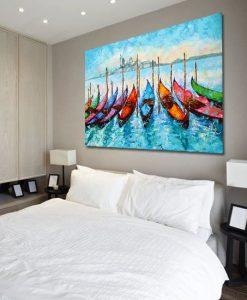 obraz łodzie na wodzie