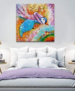 obraz dziewczyna i ptak
