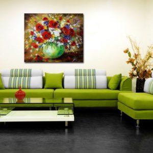 obrazy kwiaty w wazonie