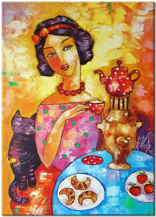 obraz kobieta z kotem i samowarem