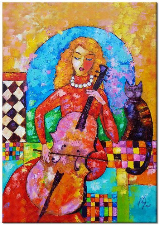 obraz jak malowany wiolonczelistka