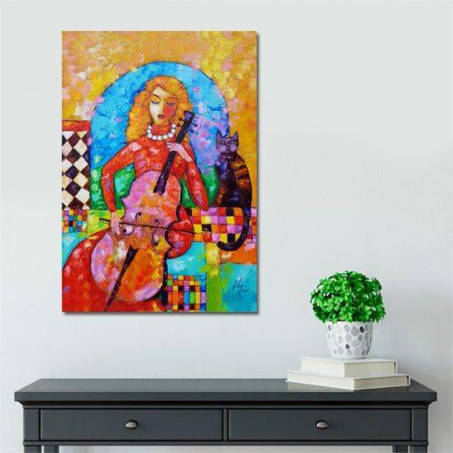 reprodukcja malarstwa kobieta z wiolonczelą