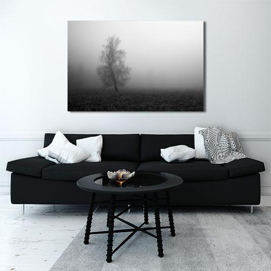 Czarno Biały Obraz Z Drzewem We Mgle Do Salonu