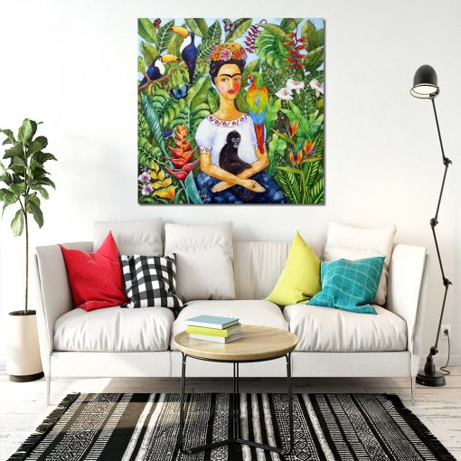 obraz z kobietą i dżunglą